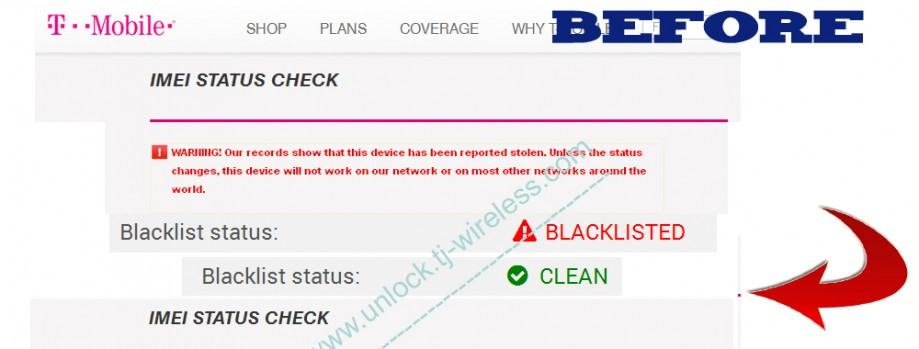Turn your barred or blacklisted T-Mobile USA iPhone IMEI into clean – not unlock service
